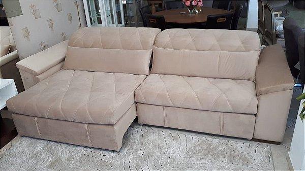Sofá Retrátil e Reclinável com 2,90m Tecido Veludo