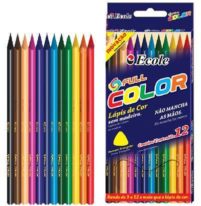 Lápis Full Color Triangular Com 12 Cores - Ecole