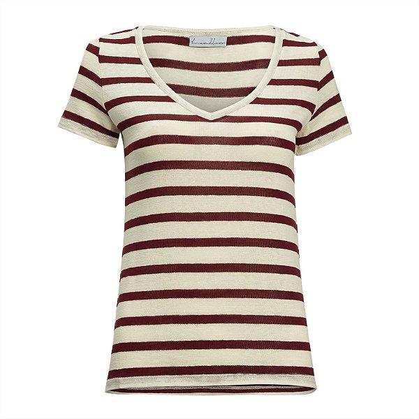 T-Shirt Gola V Listras Linho Off White & Rubi