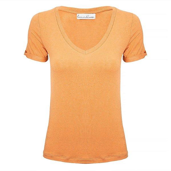 T-Shirt Gola V Linho Pêssego
