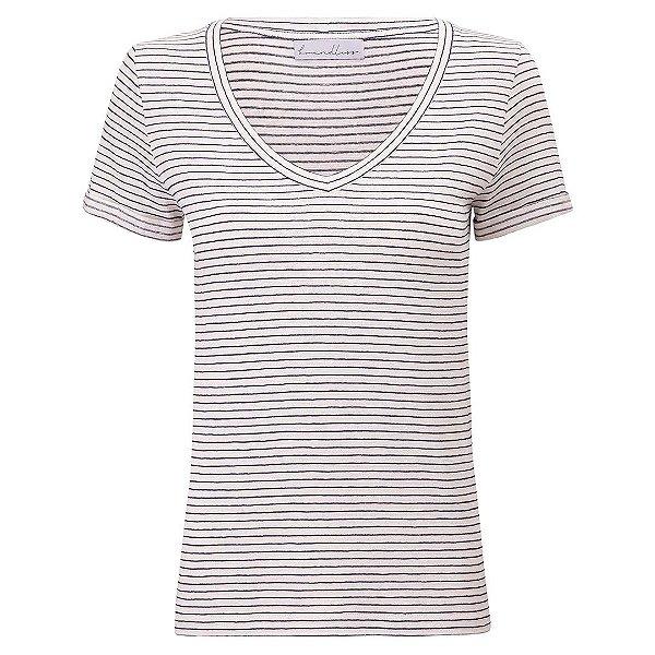 T-Shirt Gola V Listras Linho Marinho & Off White