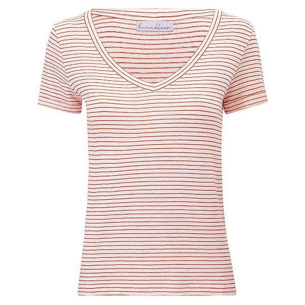T-Shirt Gola V Listras Linho Telha & Off White