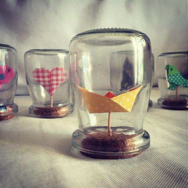 Mini redoma com origami (8 cm) - 1 unidade