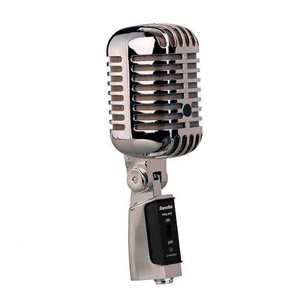Microfone Vocal Superlux Metal Cromado Dinâmico Retrô Proh7f