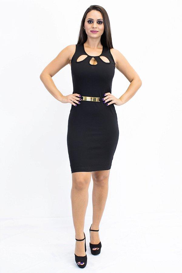 Vestido gota com fivela preto