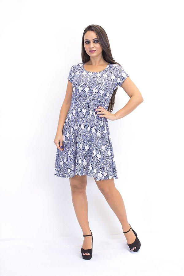 Vestido curto básico viscose azulejo português