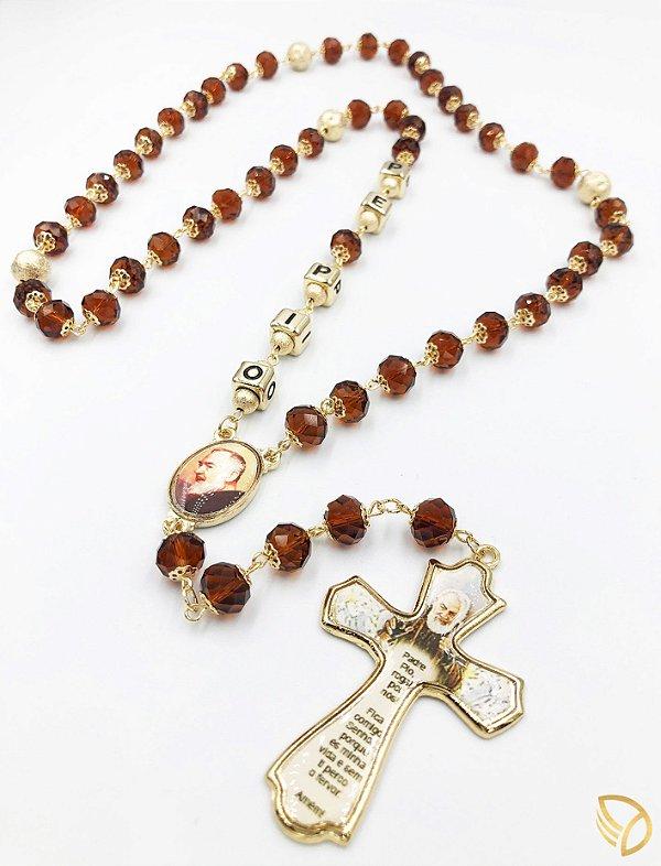 Terço do Padre Pio - Cristal 8x10mm - 1629-1