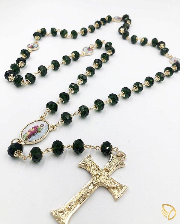 Terço São Judas folheado a ouro, de cristal 1757-1