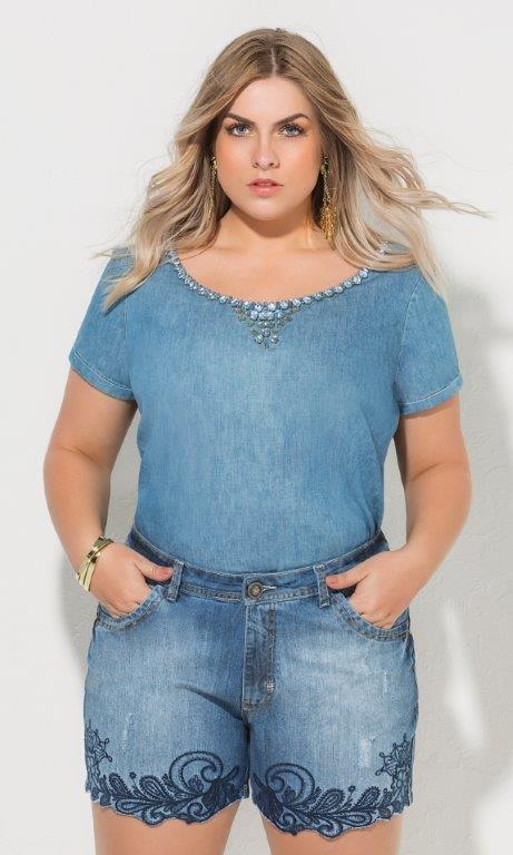 Blusa Jeans com Bordado de Chatons - 3568