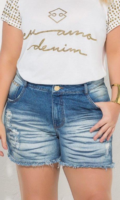 Shorts Jeans com Barra Desfiada com Amassado na Frente - 17418