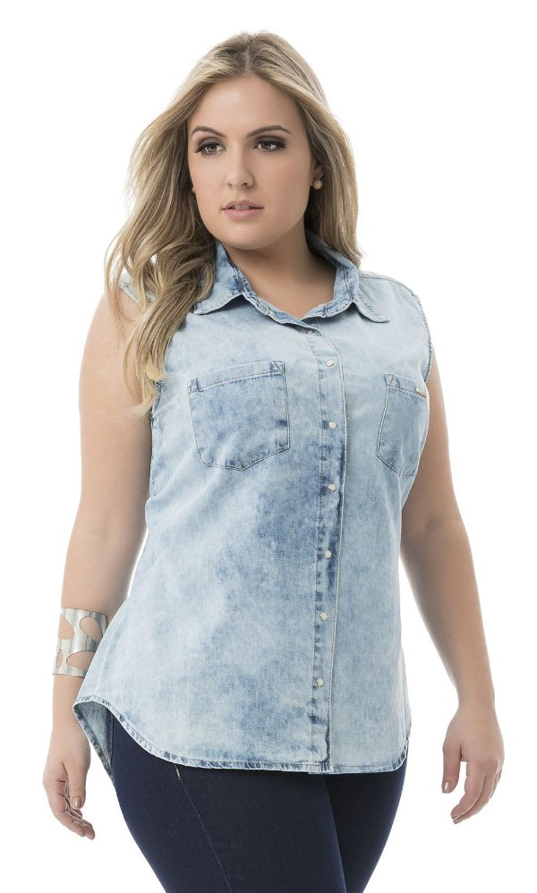 Camisa Jeans Médio sem Manga - 44458