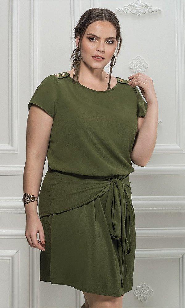 Vestido Chemise com Saia Godê Sobreposta - 5505