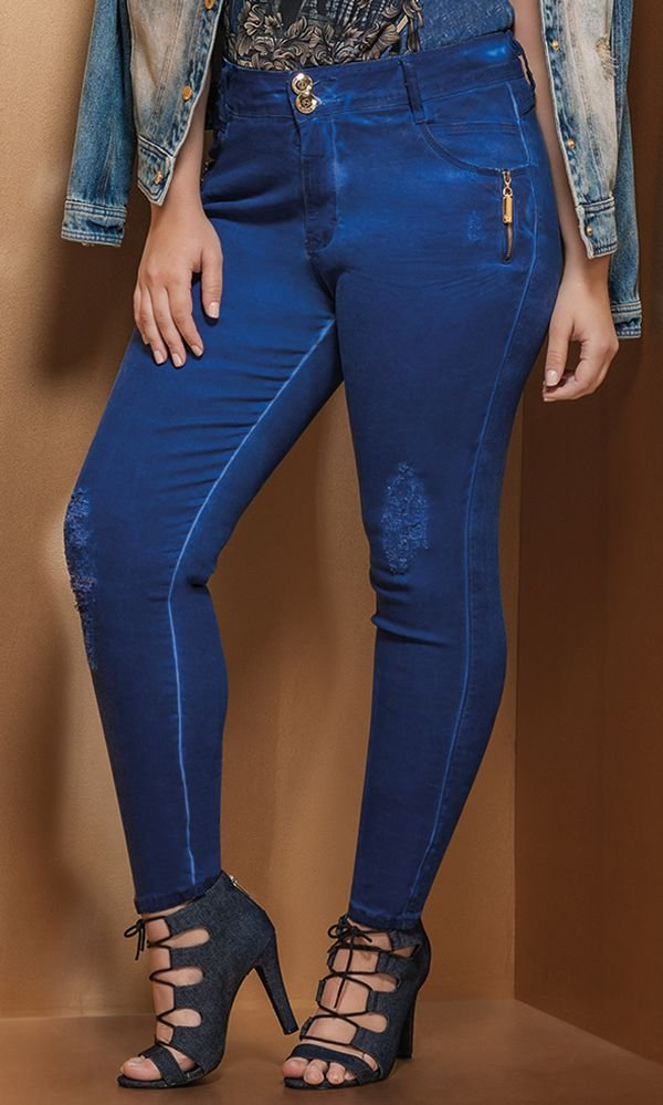 Calça Jeans Color com Aplicação   17597