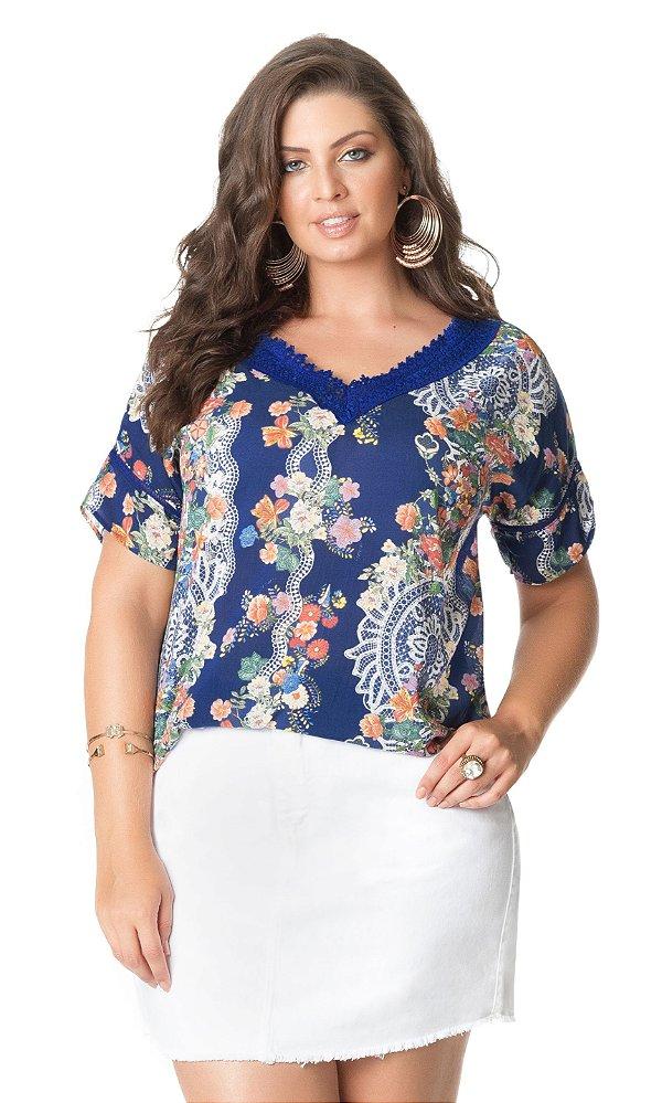 Blusa Estampada com Detalhe em Renda   20345