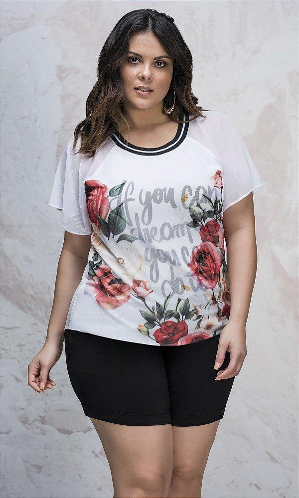 T-shirt Estampada Sobreposta em Transparência   3903