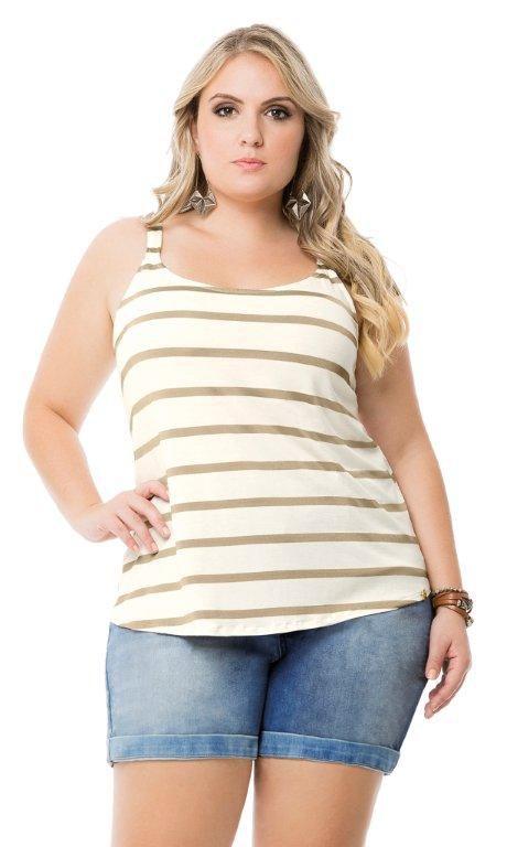 Blusa com Listras Golden Branco   40698