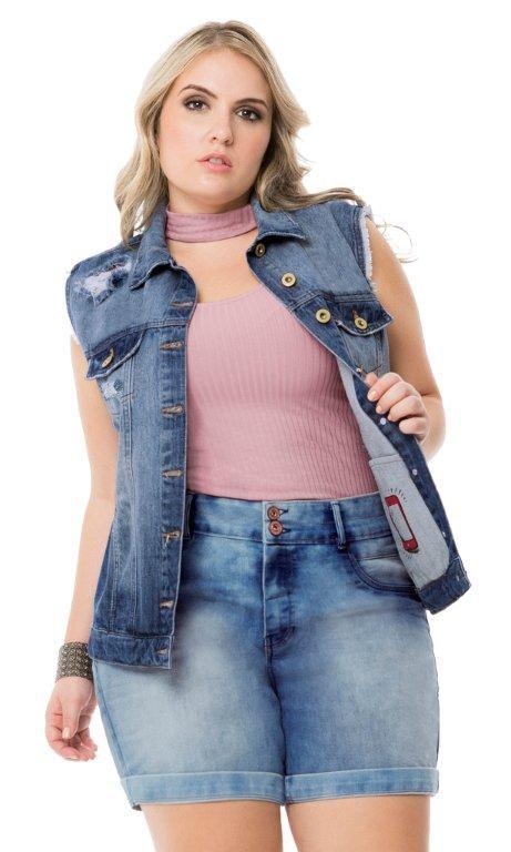 Colete Jeans com Bolso Interno   40225