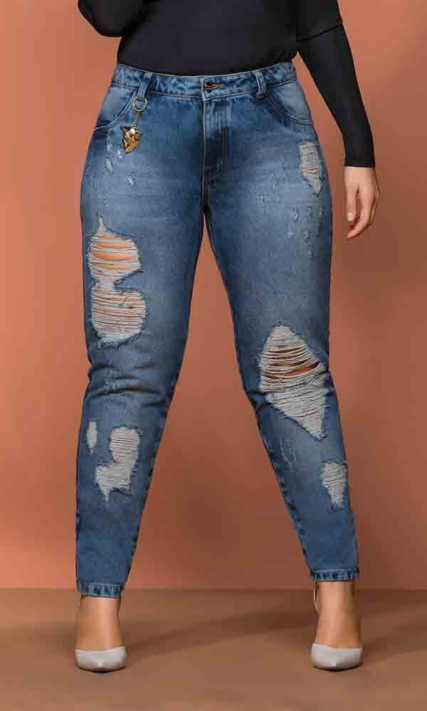 Calça Jeans Cigarrete com Puídos a Laser   17798