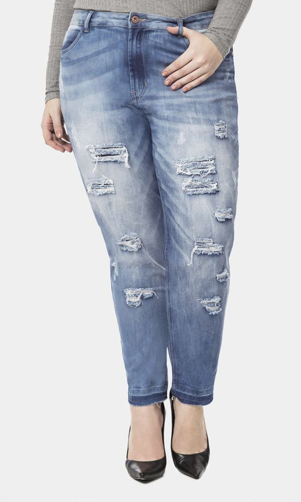 Calça Jeans com Path Destroyer   60243