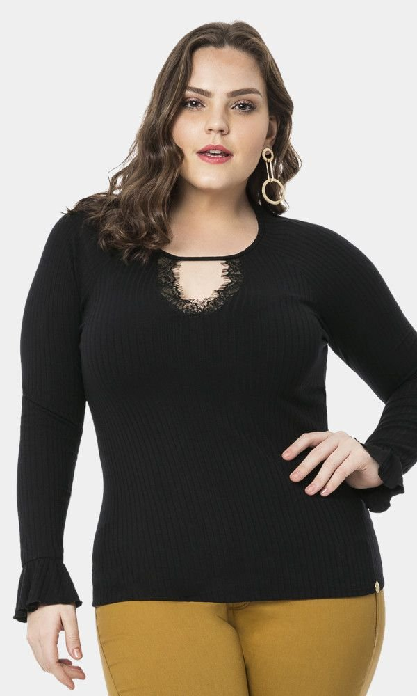 Blusa Malha Canelado com Detalhe no Decote   60708