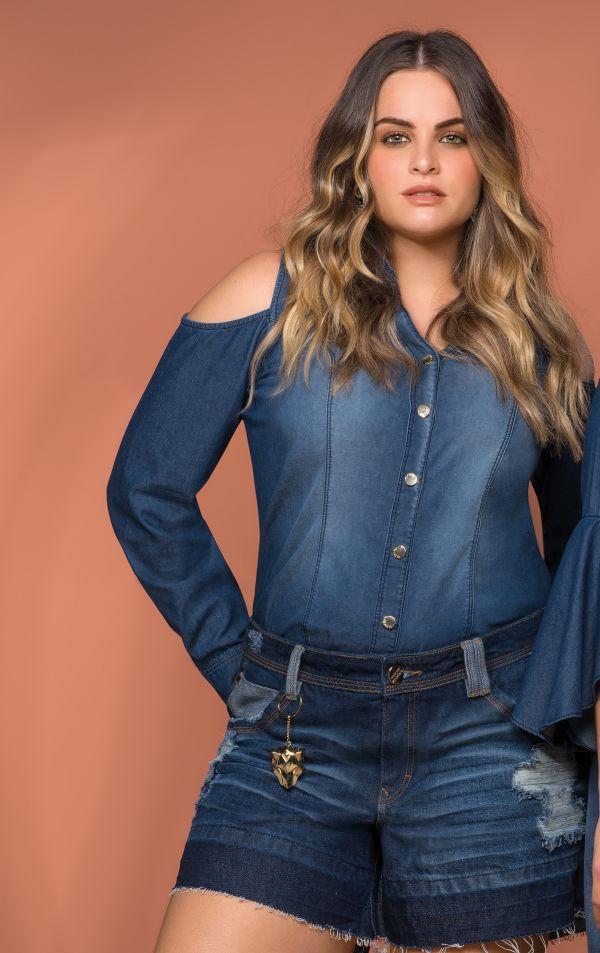 Camisa Jeans com Gola e Ombro Vazado   6580