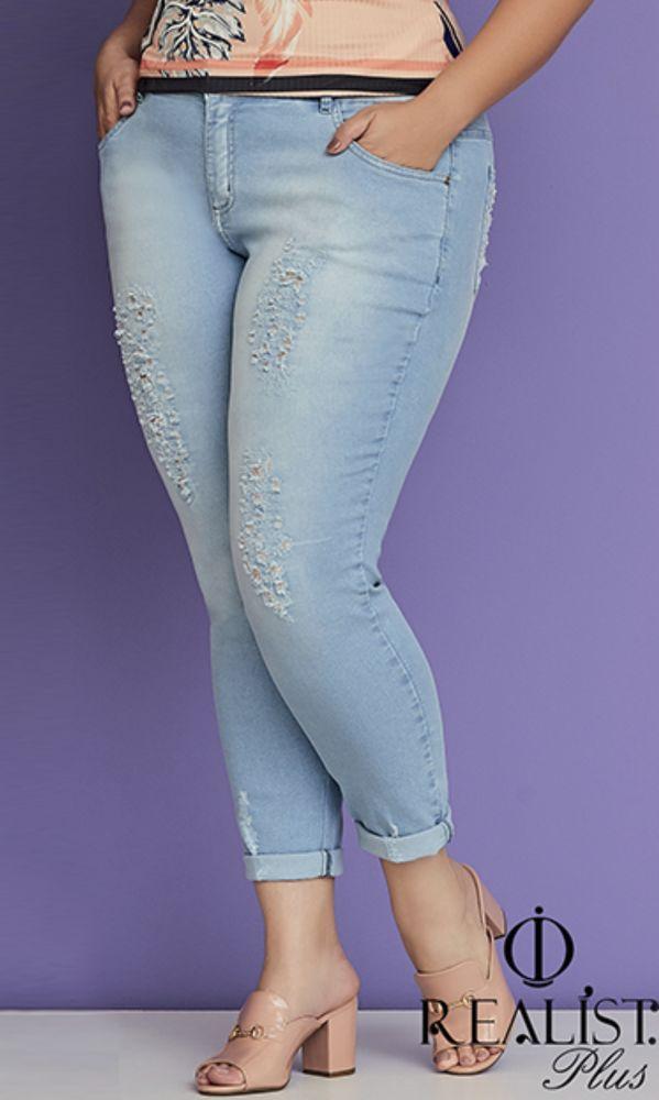 Calça Jeans Clara com Puídos   824169