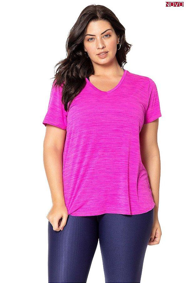 Blusa Alongada com Decote V - Pink 83444