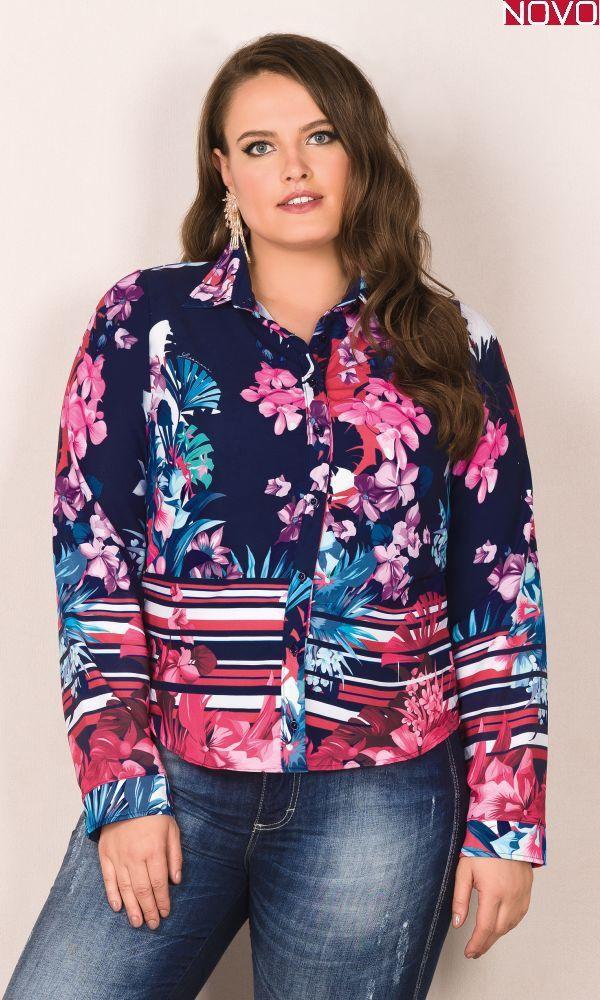 Camisa Floral com Gola     20760