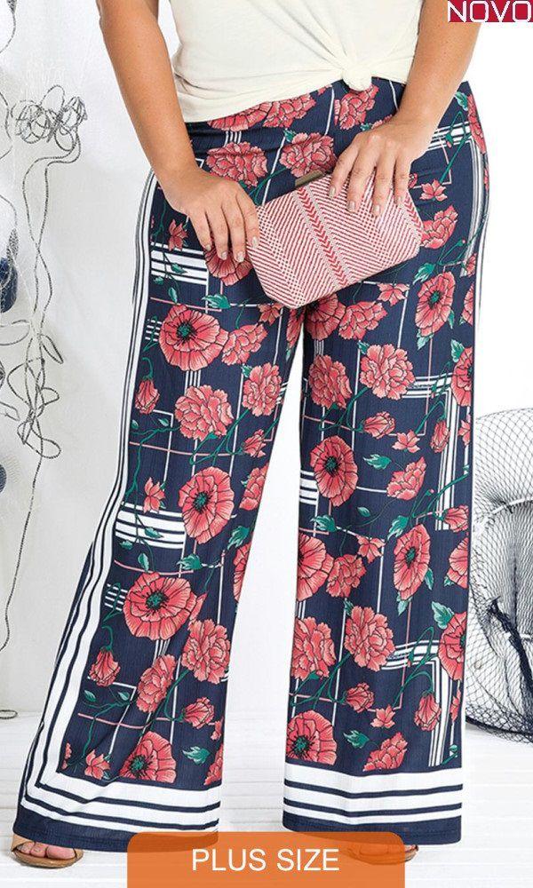 Calça Pantalona com Estampa Floral   20854