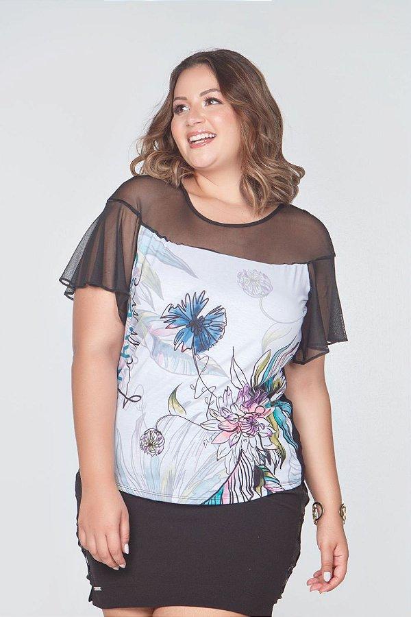 T-Shirt Sublimada com Pala e Mangas em Tule    31548