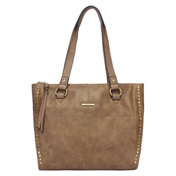Shopping Bag Grande com Costura e Metais nas Laterais - Taupe - 44903