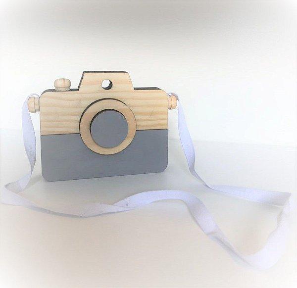 Máquina Fotográfica Retrô Detalhe Cinza