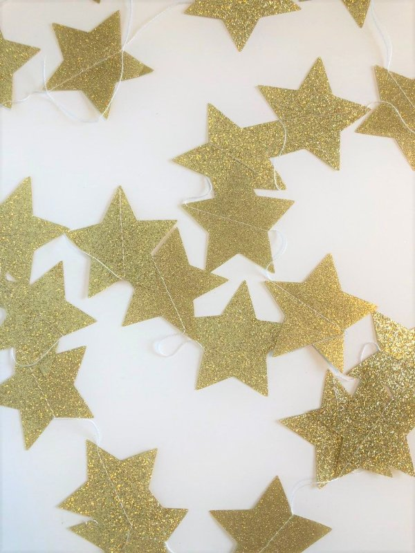 Fio de Estrelas Dourado Gliter