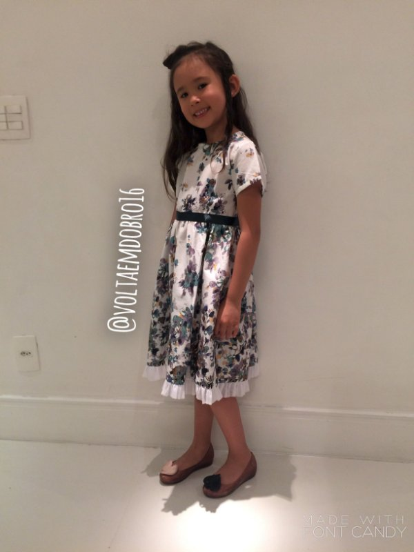 Vestido Estampa Flores e Faixa Verde Infantil