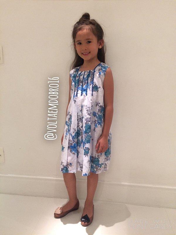 Vestido Estampa Flores com Detalhe Infantil