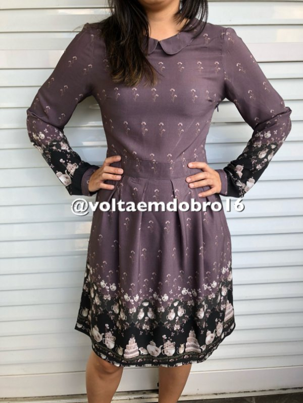 Vestido ML Barrado Nice Tea Party