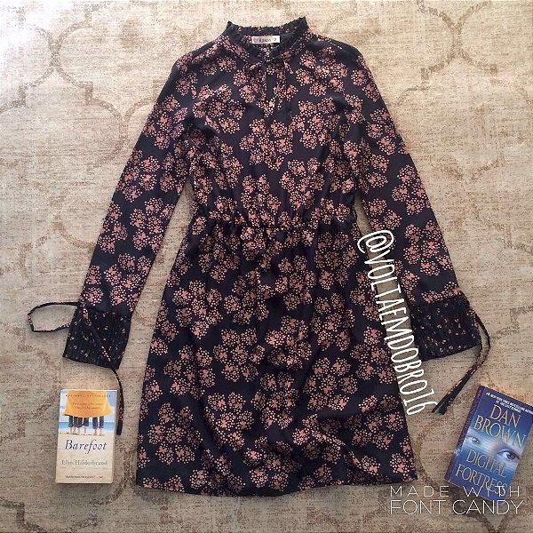 Vestido ML Mini Libelulas e Flores