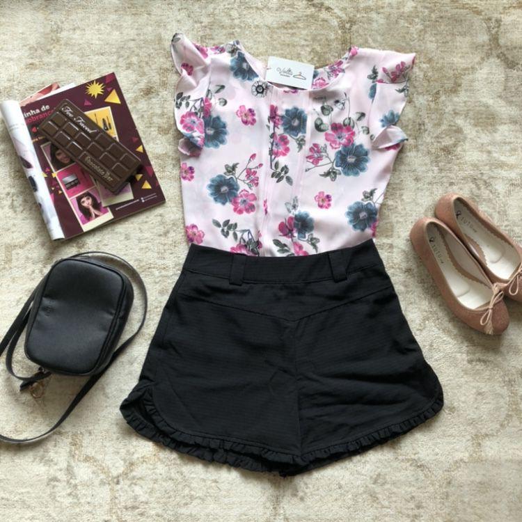 Blusa Floral com Pregas