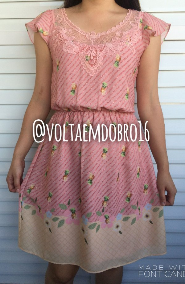 Vestido Pineapple and Flowers Rosa