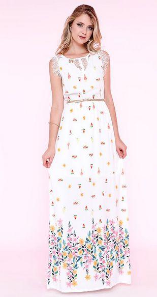 Vestido Longo Estampa Floral Coquetel de Frutas