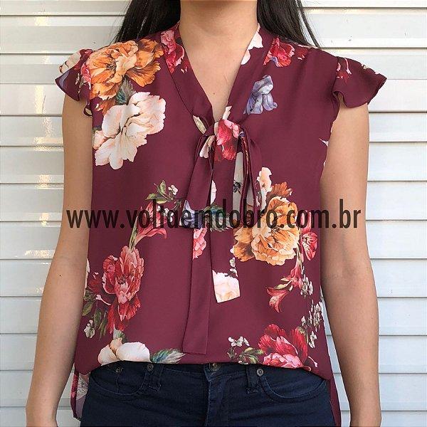 Blusa Floral Decote Laço