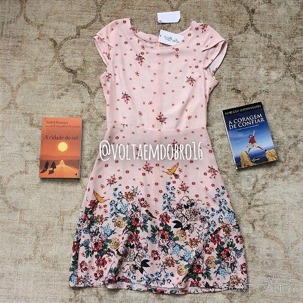 Vestido Passaros e Flores
