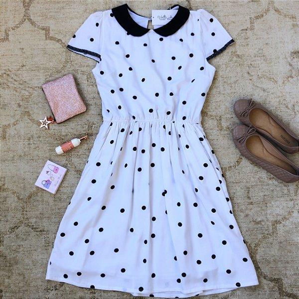 Vestido Plus Size Pois Branco