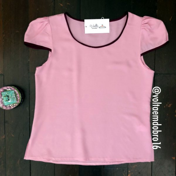 Blusa Plus Size Rosa Básica
