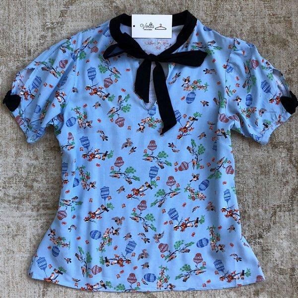 Blusa Plus Size Pássaros e Gaiolas