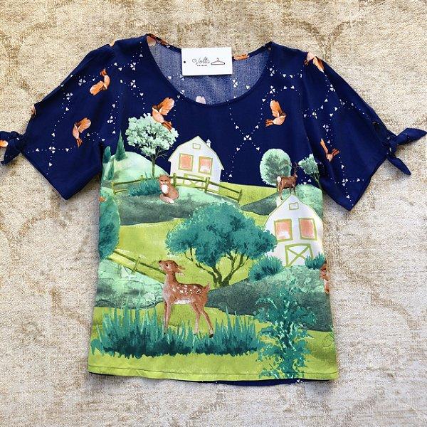 Blusa Plus Size Casa na Floresta