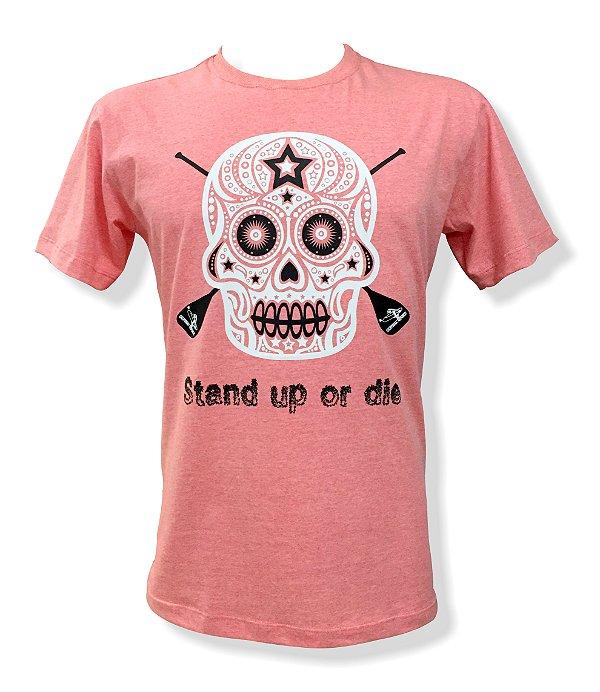 Camiseta Stand up or die - California Republic (rosa)