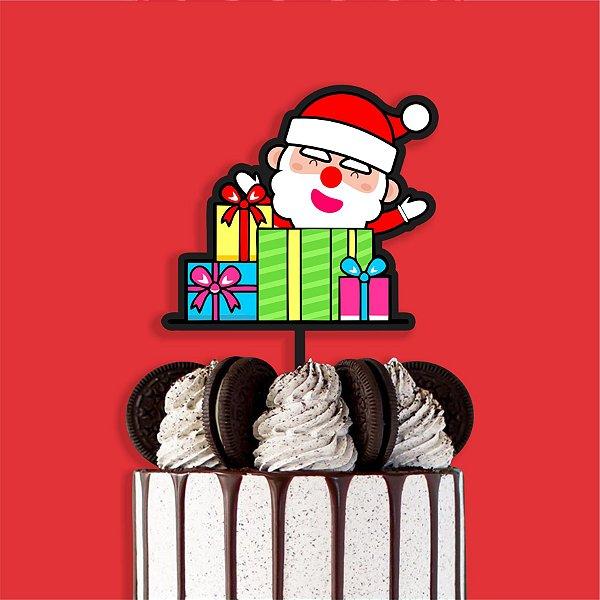 Topo Bolo Color Glitter Papai Noel Presentes Nº2