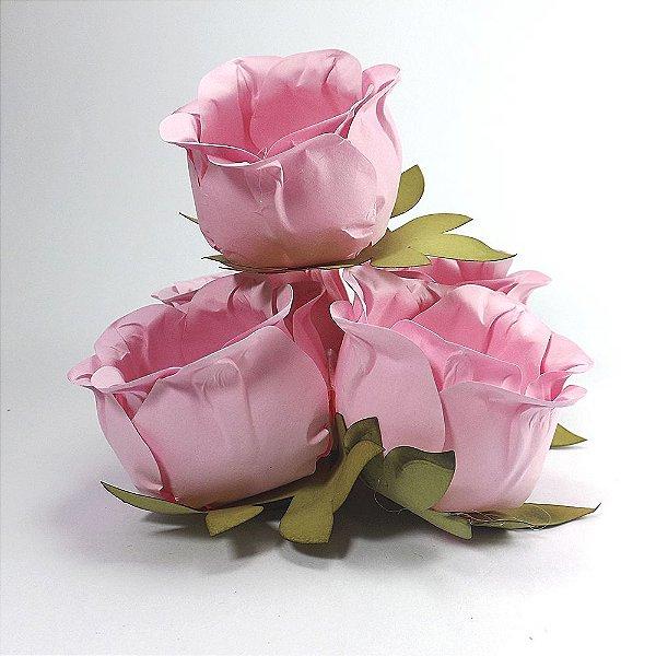 Forminha Botão de Rosa 2 Camadas Rosa Bebê 20 Unidades