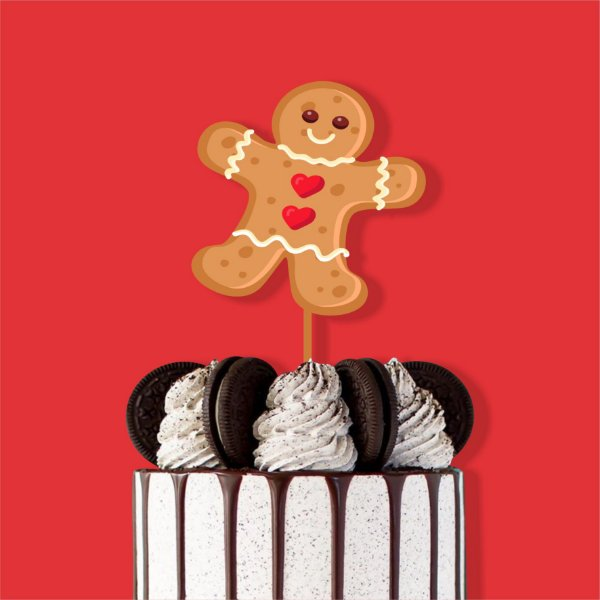 Topo de Bolo Homem Biscoito Color Glitter Natal